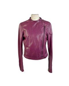 Miu Miu Purple Silk Jacket Mod: Leather Jacket