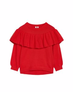 Fine Knit Flounce Jumper Red