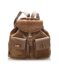 Gucci Bamboo Suede Drawstring Backpack Brown