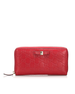 Gucci Guccissima Zip Around Long Wallet Red