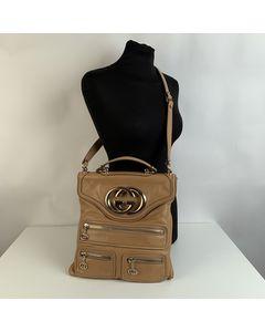 Gucci Beige Leather Britt Messenger Gg Logo Shoulder Bag