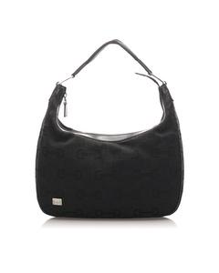 Gucci Horsebit Nylon Shoulder Bag Black