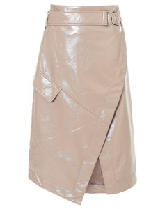Pu Wrap Skirt Beige