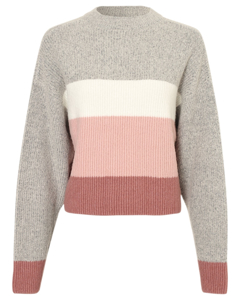 Block Colored Knit Grey Stripe