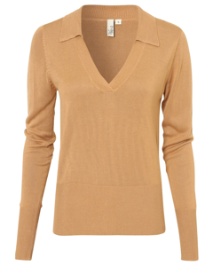 Slim Collar Knit Top Beige