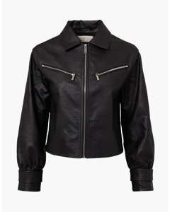 Cropped Zip Front Jacket Black
