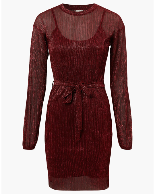 NLY by Nelly Shimmer Plissé Dress Red