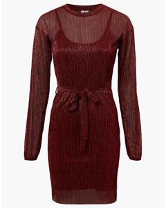 Shimmer Plissé Dress Red