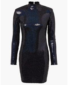Holographic Sequin Dress Black