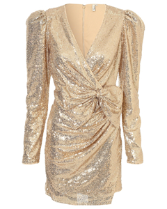 Puffy Power Sequin Dress Gold