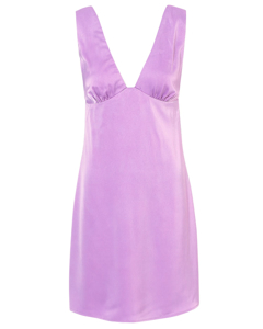 Deep Plunge Satin Dress Purple