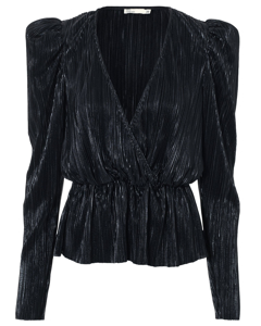 Pleated Wrap Top Black