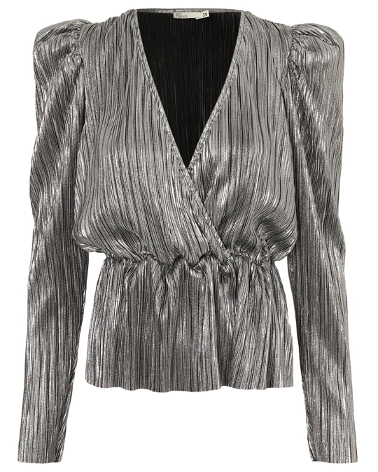 NLY by Nelly Pleated Wrap Top Silver