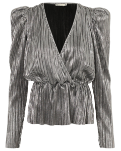 Pleated Wrap Top Silver
