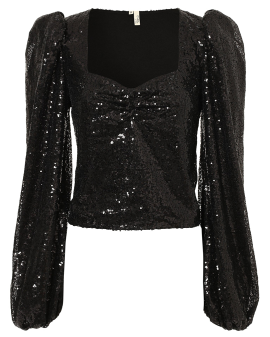 NLY by Nelly Puff Sequin Top Black