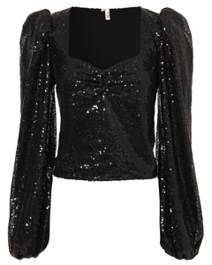 Puff Sequin Top Black