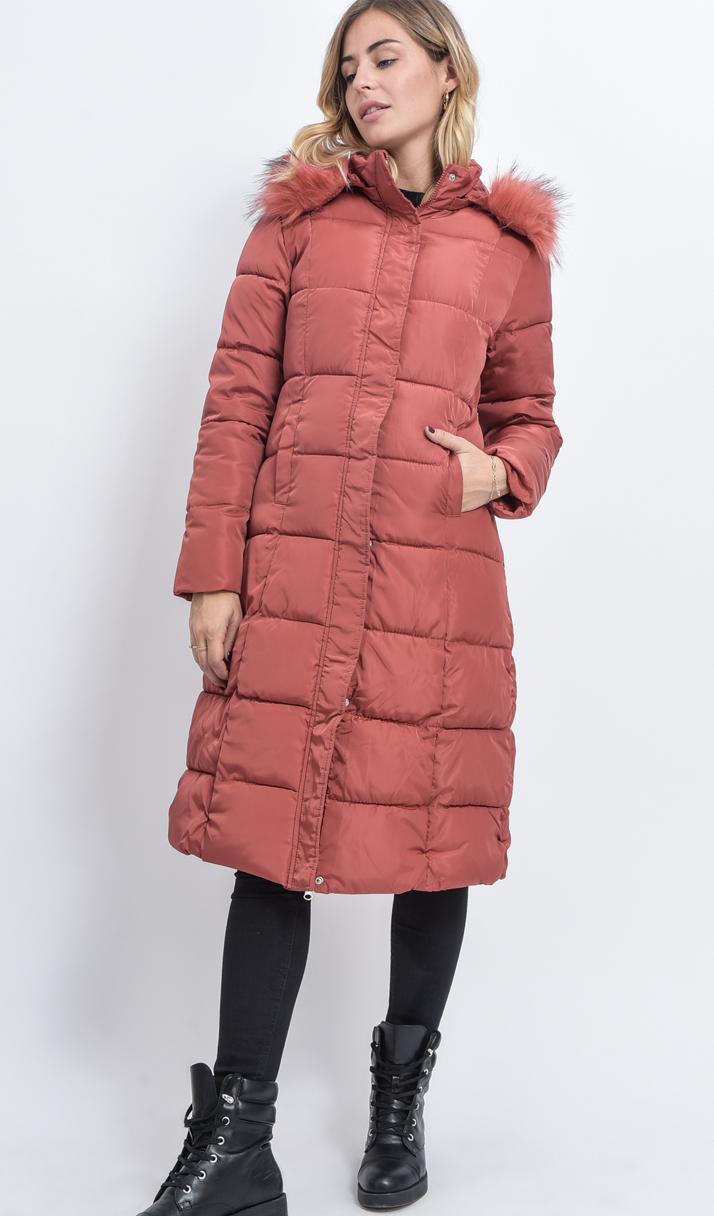 Quilted Long Coat With Hood And Faux Fur shop 25 70