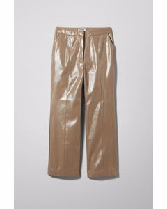 Piper Patent Trouser. Brown