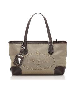 Prada Canapa Logo Canvas Handbag Brown