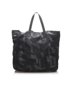 Prada Tessuto Camouflage Tote Bag Black
