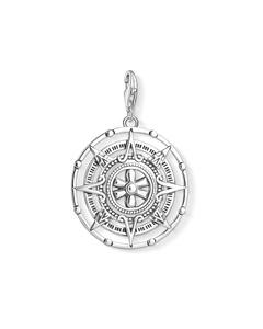 Charm Pendant Maya Calendar 925 Sterling Silver, Blackened