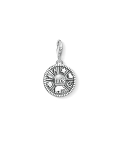 Charm Pendant Lucky Coin 925 Sterling Silver, Blackened