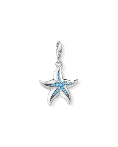 Charm Pendant Starfish 925 Sterling Silver, Blackened