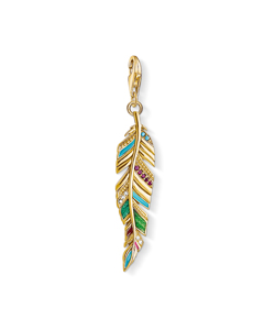 Charm Pendant Ethnic Feather 925 Sterling Silver; 18k Yellow Gold Plating