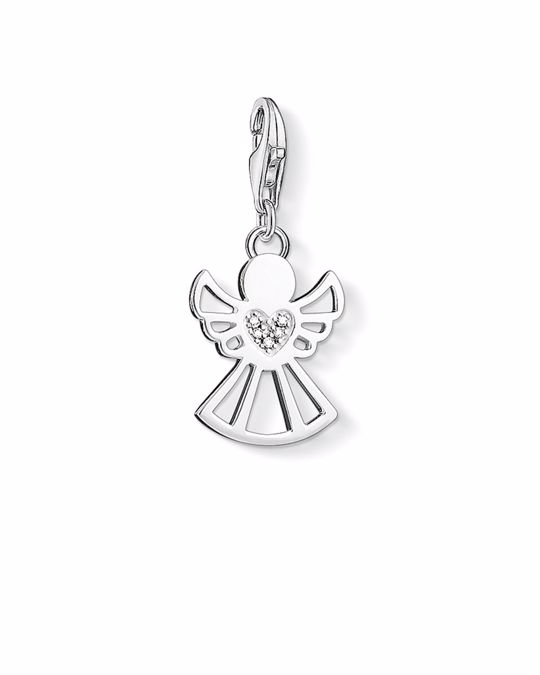 Thomas Sabo Charm Pendant Angel With Heart 925 Sterling Silver, Diamond