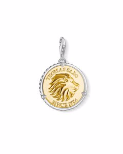 Charm Pendant Disc Lion 925 Sterling Silver, Blackened; 18k Yellow Gold Plating
