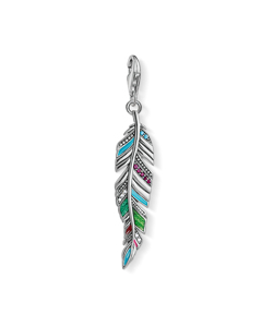 Charm Pendant Ethnic Feather 925 Sterling Silver, Blackened