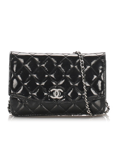 Chanel Cc Timeless Patent Leather Wallet On Chain Black
