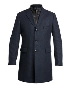 Wool Zip Coat Navy