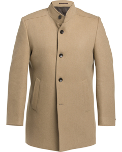 Wool Stand Up Collar Coat Sand