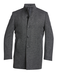 Wool Stand Up Collar Coat Grey