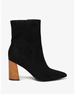 Pointy Wood Heel Boot Black