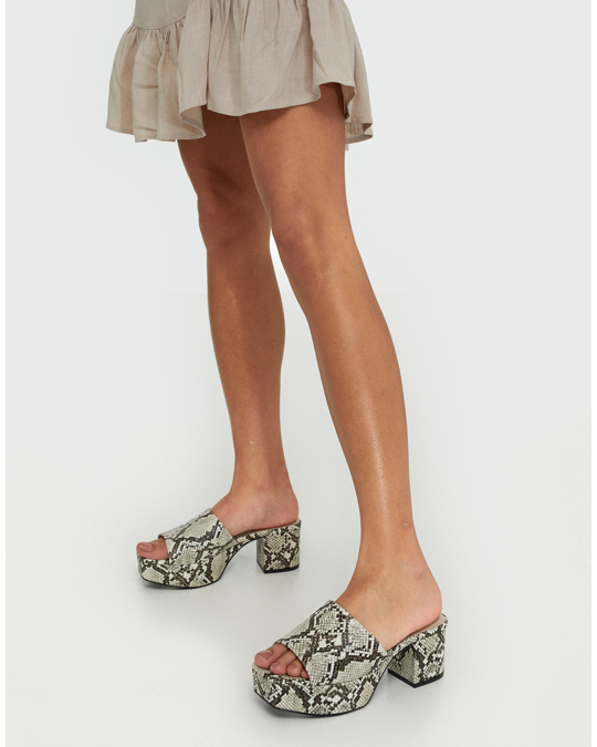 NLY by Nelly Low Platform Mule Snake