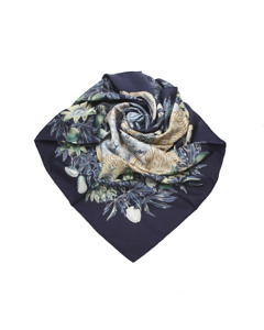 Hermes Passiflores Silk Scarf Blue