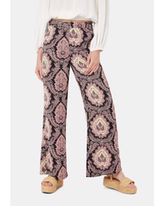 Paisley Straight Leg Trousers In Black And Purple