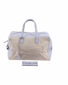Battistoni Bicolor Canvas And Leather Carry On Bag Weekender