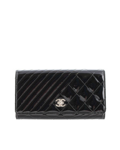 Chanel Coco Boy Patent Leather Flap Wallet Black