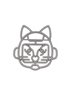 Chanel Cat Robot Rhinestone Brooch Black