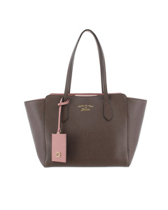 Gucci Small Swing Leather Tote Gray