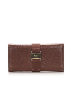Ferragamo Vara Leather Long Wallet Brown