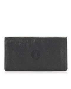 Celine Leather Long Wallet Black