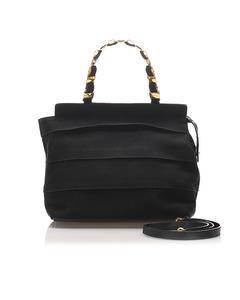 Ferragamo Tiered Grosgrain Chain Tote Bag Black