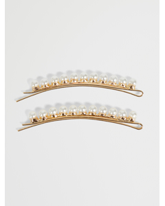 2 Pack Pearl Hair Pins Gold