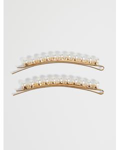 2 Pack Pearl Hair Pins Gold