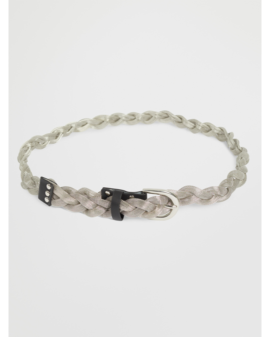 NLY by Nelly Braided Metal Belt Silver/black