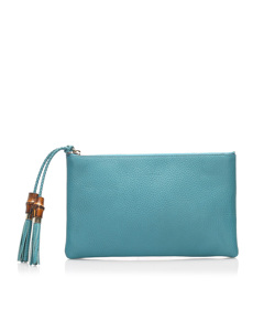 Gucci Dollar Calf Clutch Bag Blue